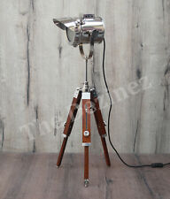 Mini Tripod Spotlight Chrome Cap Brown Tripod Stand Floor Lamp