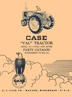 Case Model VAC Tractor Parts Catalog Manual 557K and up