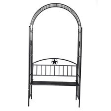 New listing Garden Arch with Bench Metal Arbor Plant Backyard Party Decoration