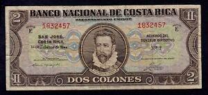 COSTA RICA 2 COLONES 1944 PICK # 201a FINE+.