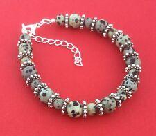 Dalmatian Jasper Gemstone Handmade Bead Unique Women's Bracelet - Aussie Seller!