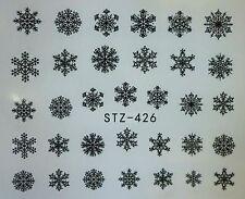 Nail Art Pegatinas Calcomanías De Agua Mate Negro Copos de Nieve Navidad Esmalte En Gel 426B