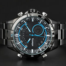 INFANTRY Herren Armbanduhr LED Digital Sport Alarm Chronograph Edelstahl Flieger