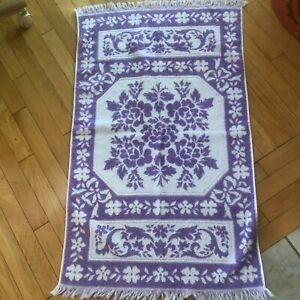 Sears Vintage Lilac Purple & White Floral Fringed Jacquard Sculpted Bath Towel