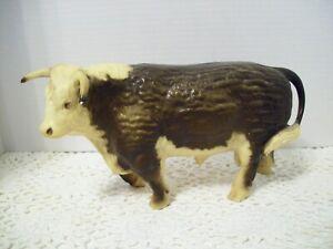 VINTAGE Herford Bull Figurine - Hard Plastic - Cow Farm Animal Statue