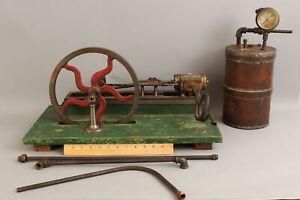 Antique 19thC Handmade Working Miniature Steam Engine + Copper Tank & Gauge