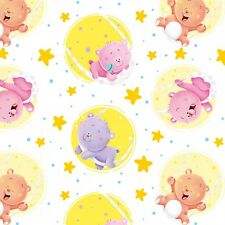 Wish Upon a Star - Bears Yellow Circle Stars White Cotton Flannel Fabric BTY
