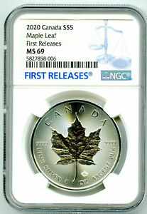 2020 $5 CANADA 1 OZ SILVER MAPLE LEAF NGC MS69 RARE FIRST RELEASES BLUE LABEL