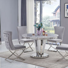 Riccardo Grey Marble & Chrome 1.3m Round 5 Piece Set (Grey Belgravia Chairs)