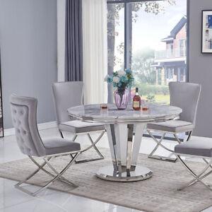 Riccardo Grey Marble & Chrome 1.3m Round 5 Piece Set (Grey Belgravia Chairs)