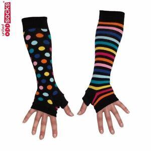 United Oddsocks Black Long Arm Warmers Sleeve Spots & Stripes Fingerless Gloves