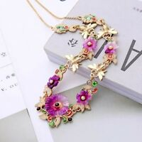 Vintage gold crystal & pearl purple flower cluster statement chain necklace
