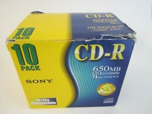 Sony CD-R 650MB 74min 9-Pack Storage Case Full Size Jewel Cases CDQ-74CN NEW