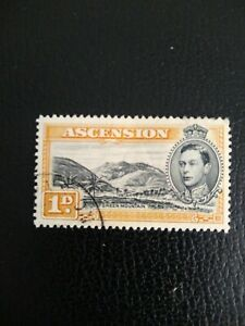 ASCENSION KGVI 1938 SG39a 1d black and yellow-orange Perf 13½ Fine Used.