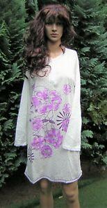 Nachthemd Langarm Baumwolle weiß mit lila Blumen Gr. 46 XXXL