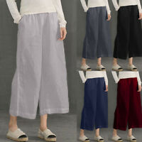 Fashion Women's Loose Elastic Waist Causal Loose Trousers Cropped Wide Leg Pants