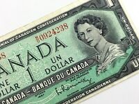 1967 Canada 1 One Dollar MO Prefix Circulated Canadian Elizabeth Banknote M465