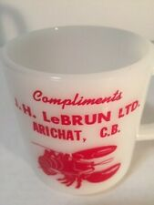 Vintage White Milk Glass Arichat C.B. Souvenir Mug  Lobster Seafood N.S. RARE