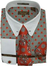 Mens Henri Picard Red/White/Black Polka Dot Dress Shirt and Tie Set