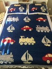 kids BOYS  BLUE QUILT & 2 SHAMS BOATS TRAIN CARS 63X85 FULL SZ