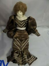 Vintage Soft Body Doll Porcelain Face and shoes brown Dress Brown Hair