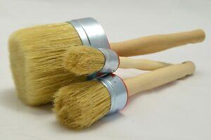 85 40 25 Paint Brush Set 3 Shabby Chic Chalk Paint Pure Bristle Round Brush, Wax
