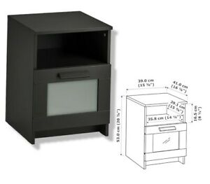 """IKEA BRIMNES Nightstand With Drawer /Tempered glass, Black 15⅜""""x16⅛"""" BRAND NEW"""