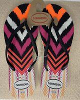 New Havaianas | Women's Black Chevron Flip Flops | US Size 9/10 W | EUR 41/42