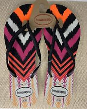 New Havaianas | Women's Black Chevron Flip Flops | US Size 9/10 W | EUR 41/42