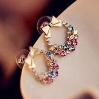 1Pair Elegant Women Crystal Rhinestone Bowknot Earrings Lady Girl Ear Stud NEW
