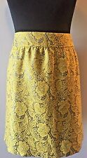 Banana Republic Yellow and Gray Lace Floral Mini Lined Short Skirt size 8 SK4