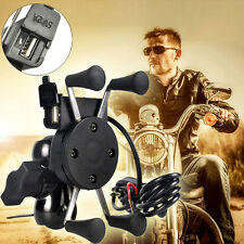Motorcycle Bike Handlebar X-Grip Cell Phone Mount Holder USB Charger 2017