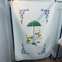 Vintage Quilted Hand Stitched Baby Blanket