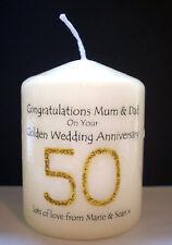 personalised 50th Golden wedding anniversary candle keepsake gift