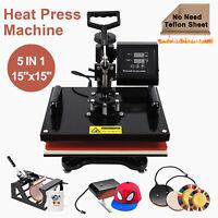 "15""x15"" 5 in 1 Heat Press Machine Transfer Sublimation Cap T-Shirt Hat Printing"