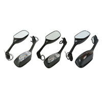 Black/Carbon Fiber Rearview Mirrors w/ Turn Signals For Suzuki GSXR600/750 06-15