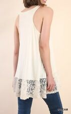 Boutique NWT Umgee Women's Racerback Tank with Floral Lace Hem: Cream
