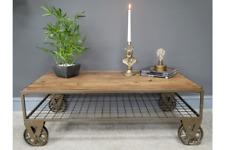 INDUSTRIAL RECLAIMED RUSTIC WOOD METAL COFFEE TABLE ON WHEELS DX6906