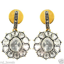 Natural 2.12ct Rose Cut Diamond 14k Gold Dangle Earrings Sterling Silver Jewelry