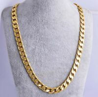 "24"" Men 18k Yellow Gold Plated Cuban Chain Necklace Mens Jewelry Hip-Hop 10MM"