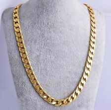 "10MM 24"" Men 18k Yellow Gold Plated Cuban Chain Necklace Mens Jewelry Hip-Hop"