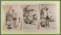 Vintage Man On Beach In Swimsuit-Gay Interest/Bulge-Lot Of 3 Photos (H317)