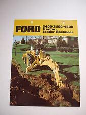 Ford 3400 3500 4400 Tractor Loader Backhoe Color Brochure 8 pg original '70 MINT