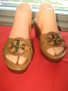 AUTHENTIC WOMEN'S TORY BURCH BROWN LEATHER WEDGE SANDALS SHOES sz 7 M , EUR 37