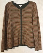 Christopher Banks Women's Zip Up Sweater Size XL Fall Colors Stripes