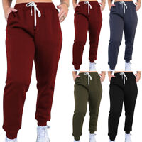 Women Ladies High Waist Cuffed Bottom Jogging Joggers gym Trousers Pants UK