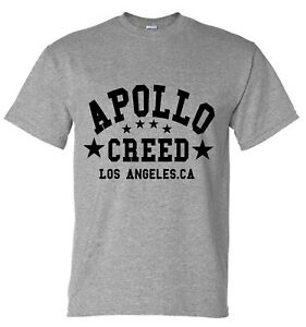 Apollo Creed Rocky Movie Boxing Inspired Gym Training Mens Grey T-Shirt …