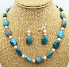 Freshwater Necklace + Earring set 18 Charming 13x18mm Blue Lace Agate Gems pearl