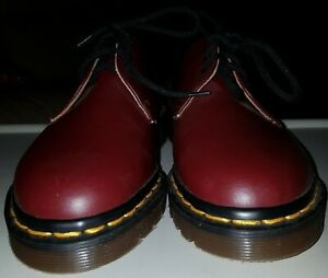 Girls Dr Martens 1461 Cherry Red Leather Low Shoes Made In England Size 4 New