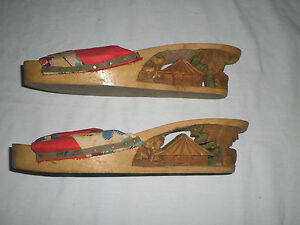 Old Wooden Shoes with Carvings in Heels Nice Small Size Slip on Sandle